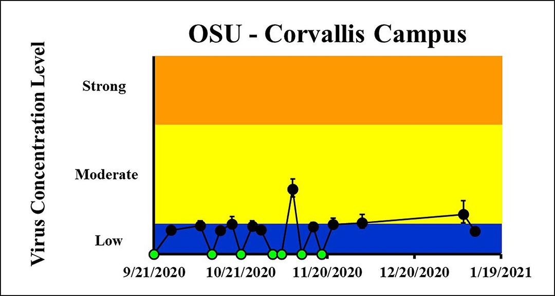 The concentration on the most recent sampling dates indicated a moderate viral load on 1/6/2021 and a low viral load on 1/10/2021 at OSU Corvallis Campus