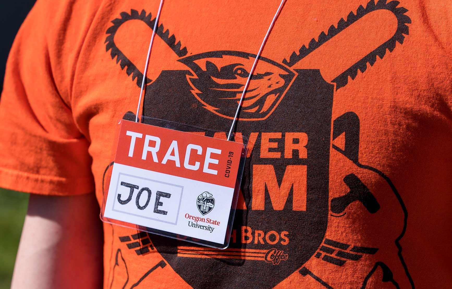 Person named Joe wearing a TRACE name tag