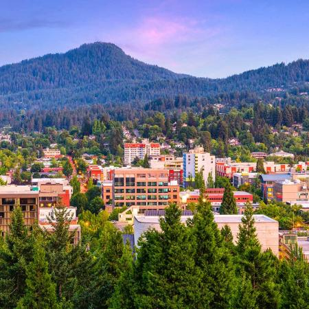 An aerial shot of Eugene, Oregon.