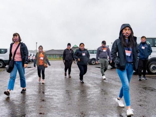 TRACE field staff walking in Newport